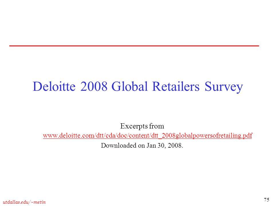 Deloitte 2008 Global Retailers Survey