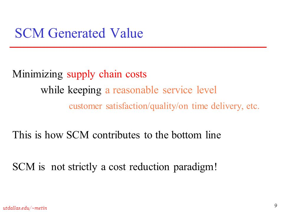 SCM Generated Value Minimizing supply chain costs