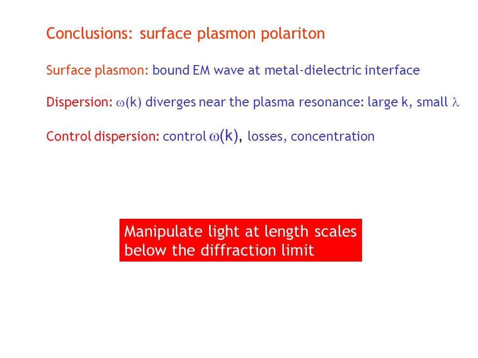 Conclusions: surface plasmon polariton