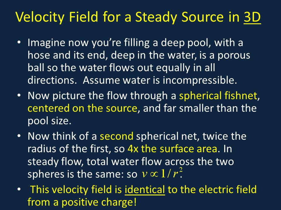 Velocity Field for a Steady Source in 3D