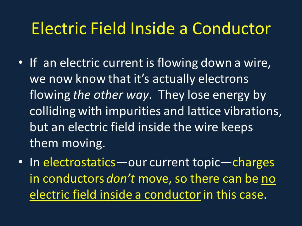 Electric Field Inside a Conductor