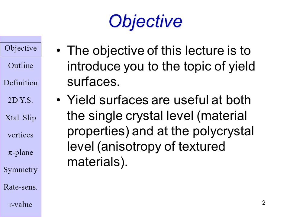 Objective The objective of this lecture is to introduce you to the topic of yield surfaces.