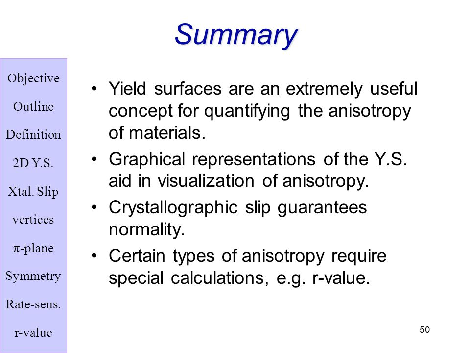 Summary Yield surfaces are an extremely useful concept for quantifying the anisotropy of materials.