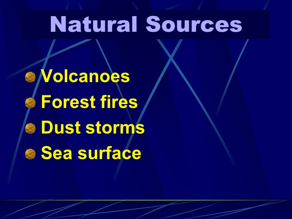 Natural Sources Volcanoes Forest fires Dust storms Sea surface