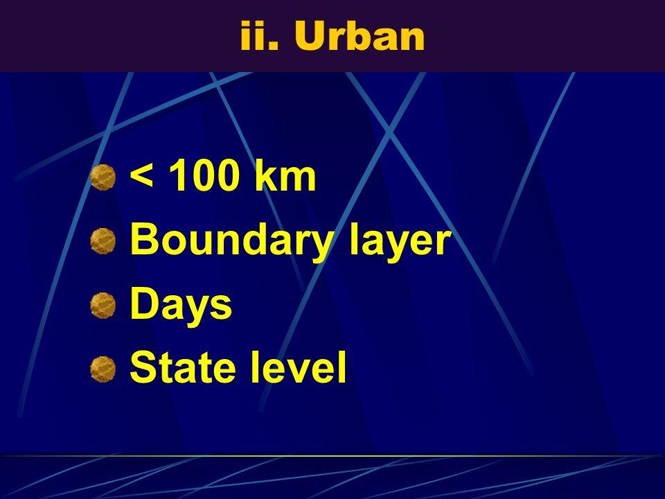 ii. Urban < 100 km Boundary layer Days State level