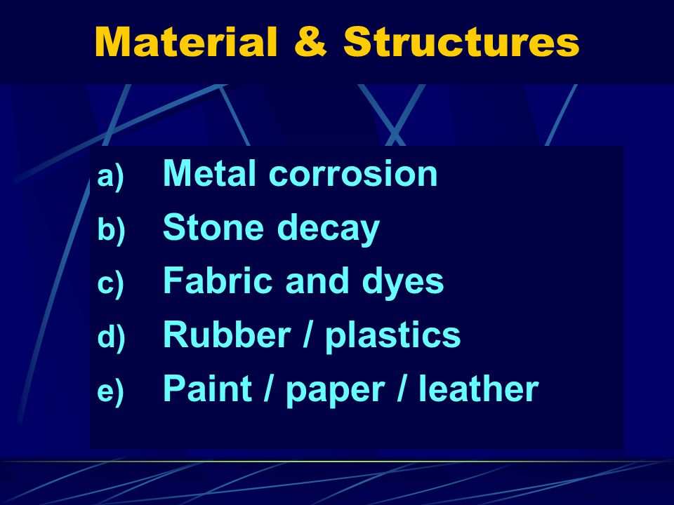 Material & Structures Metal corrosion Stone decay Fabric and dyes