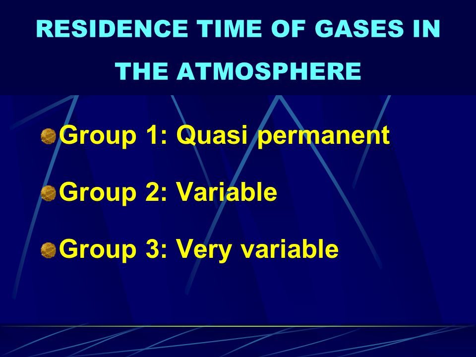 RESIDENCE TIME OF GASES IN THE ATMOSPHERE