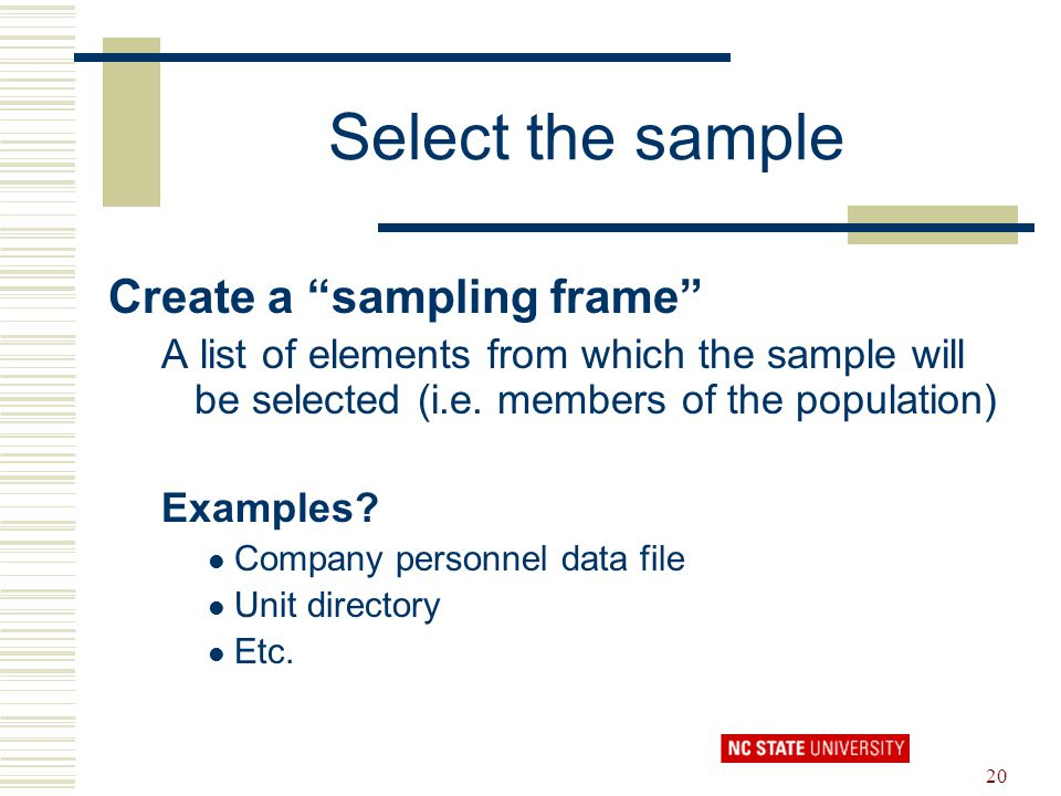 Select the sample Create a sampling frame