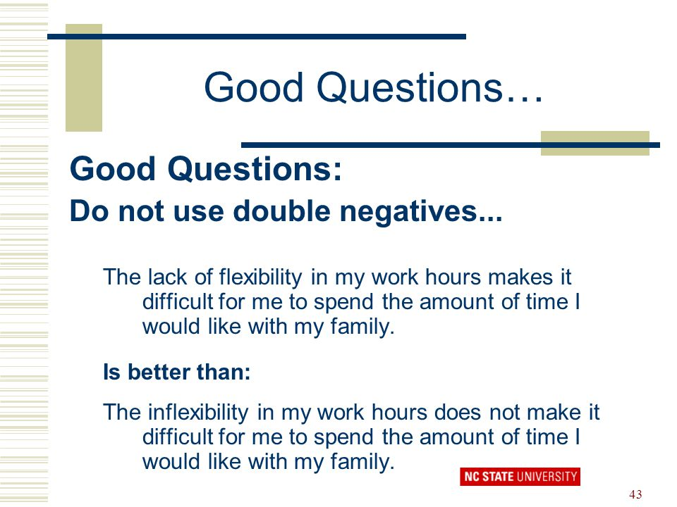 Good Questions… Good Questions: Do not use double negatives...