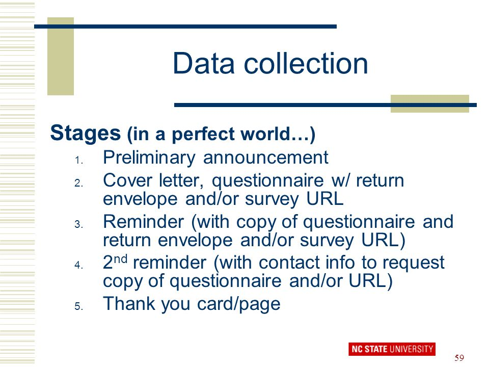Data collection Stages (in a perfect world…) Preliminary announcement