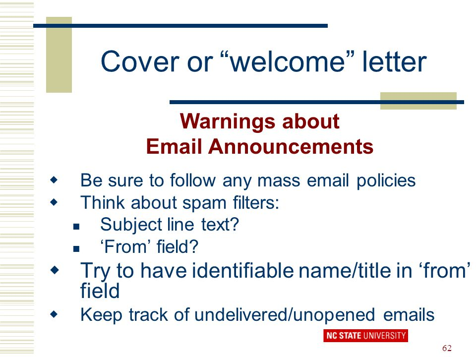Cover or welcome letter