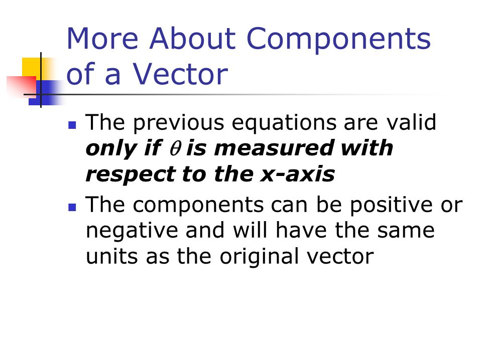 More About Components of a Vector