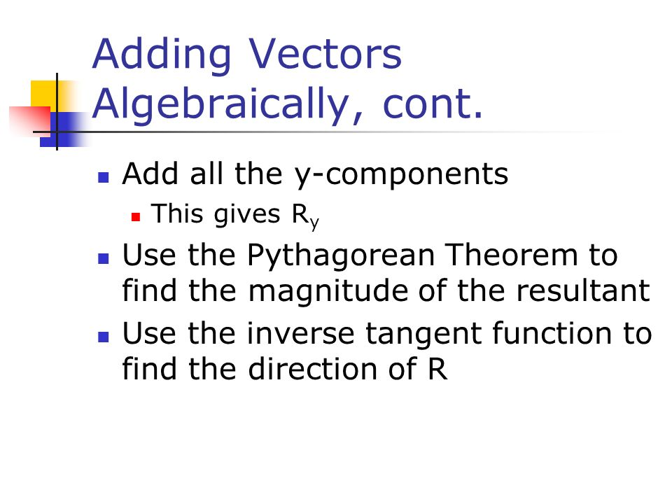 Adding Vectors Algebraically, cont.