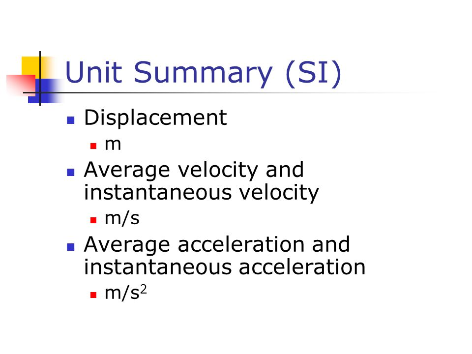 Unit Summary (SI) Displacement
