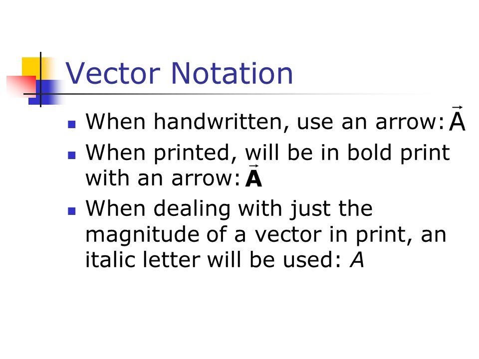 Vector Notation When handwritten, use an arrow: