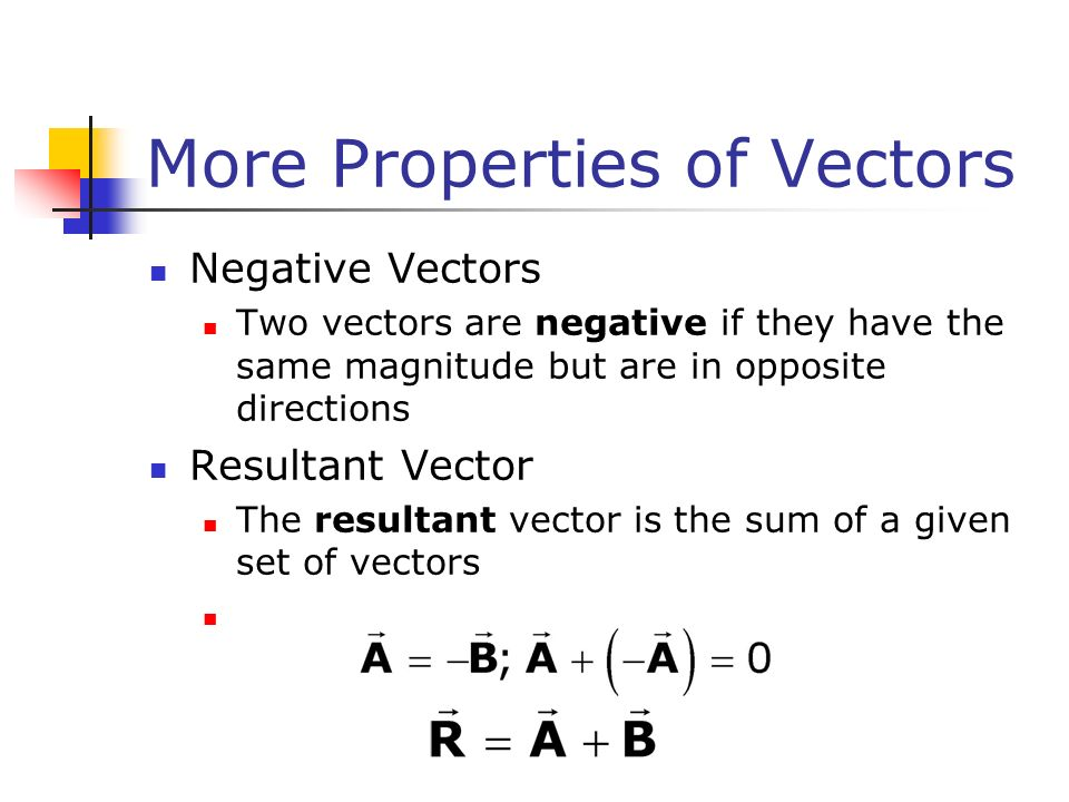 More Properties of Vectors