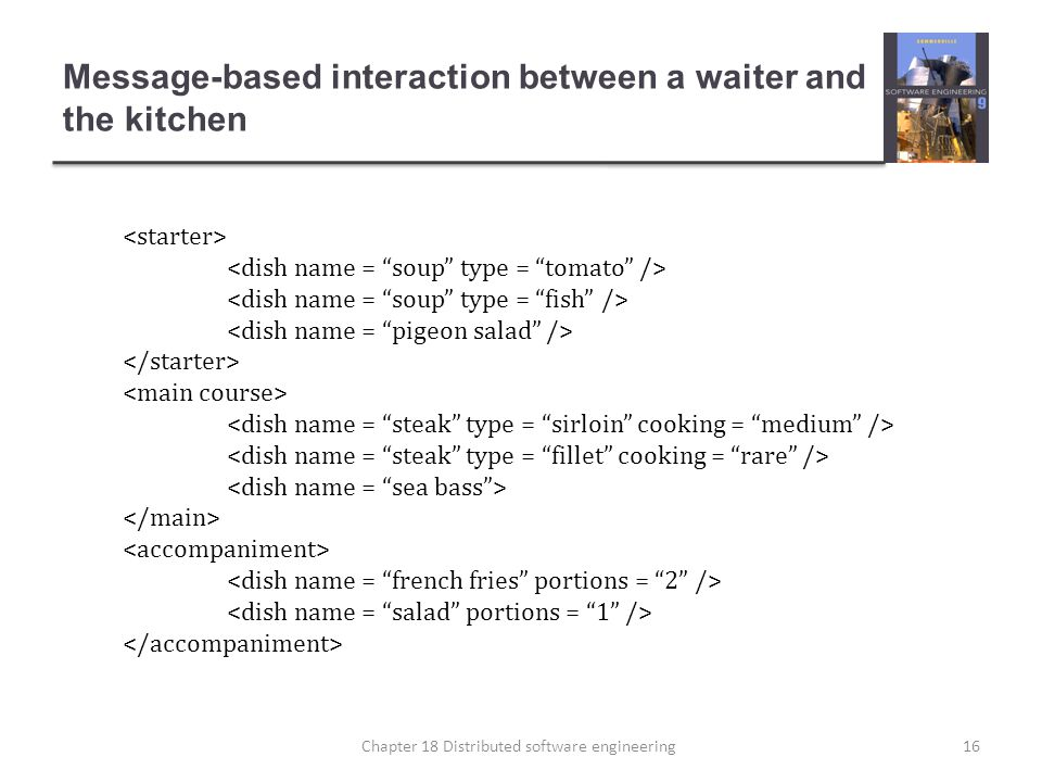Message-based interaction between a waiter and the kitchen