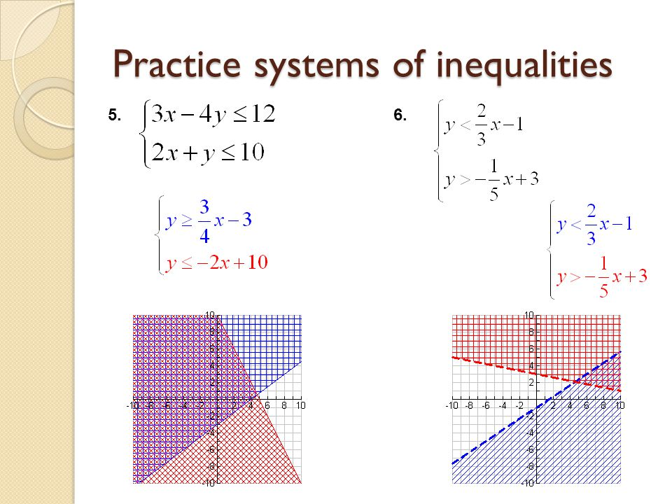 Practice systems of inequalities