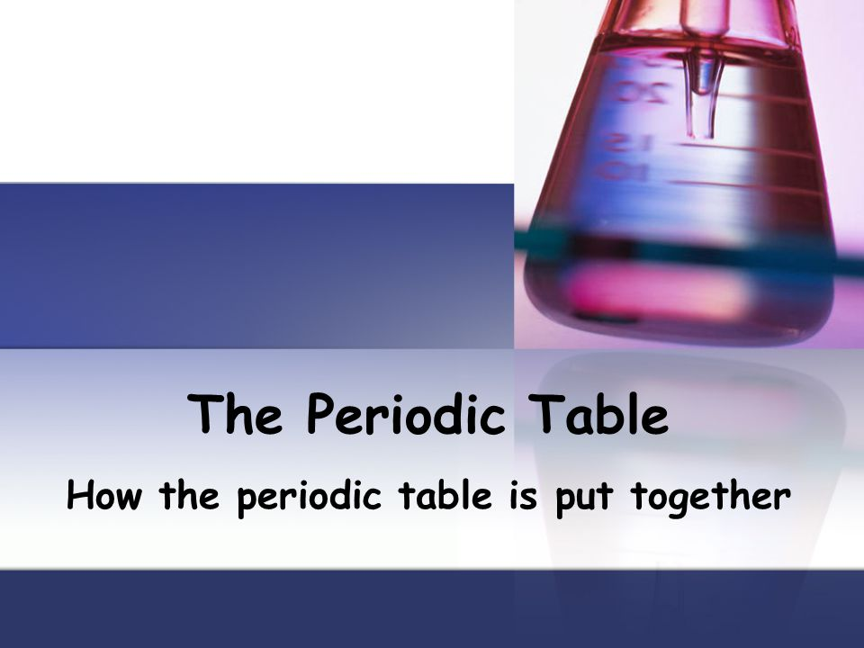 How the periodic table is put together