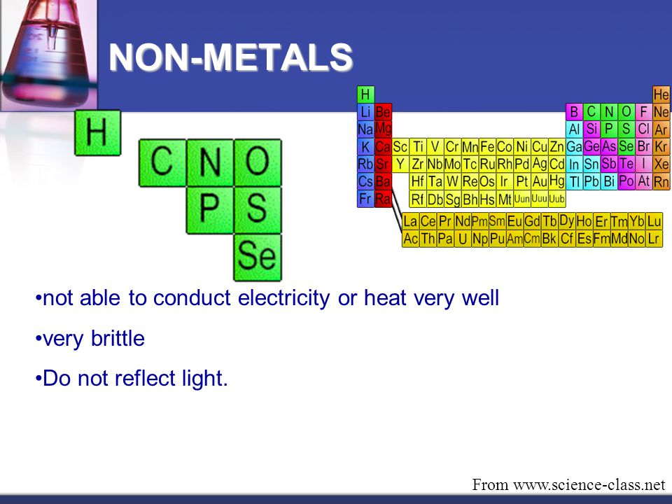 NON-METALS not able to conduct electricity or heat very well