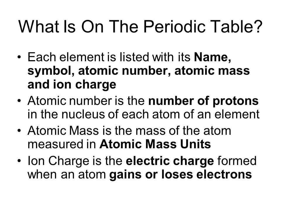 What Is On The Periodic Table