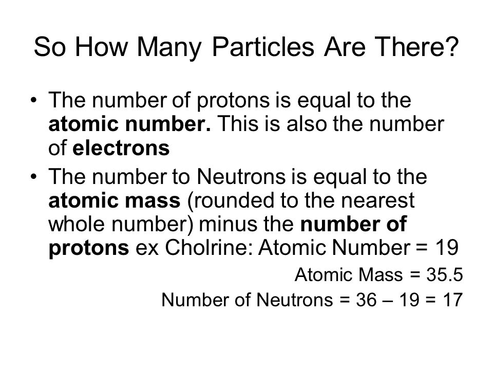 So How Many Particles Are There