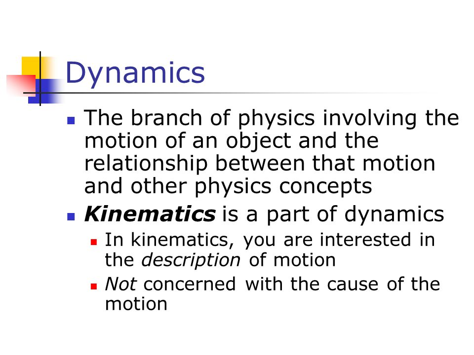 Dynamics The branch of physics involving the motion of an object and the relationship between that motion and other physics concepts.