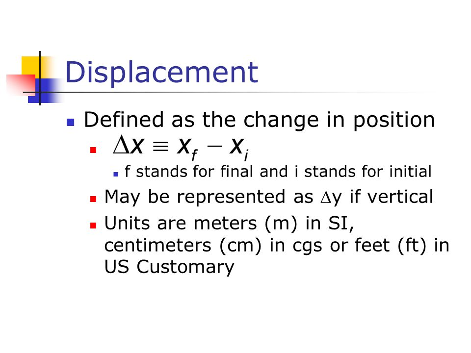 Displacement Defined as the change in position