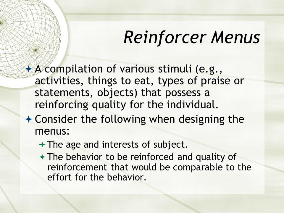 Reinforcer Menus