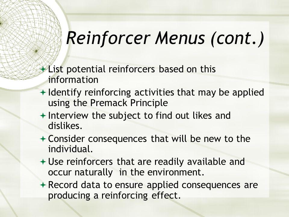 Reinforcer Menus (cont.)