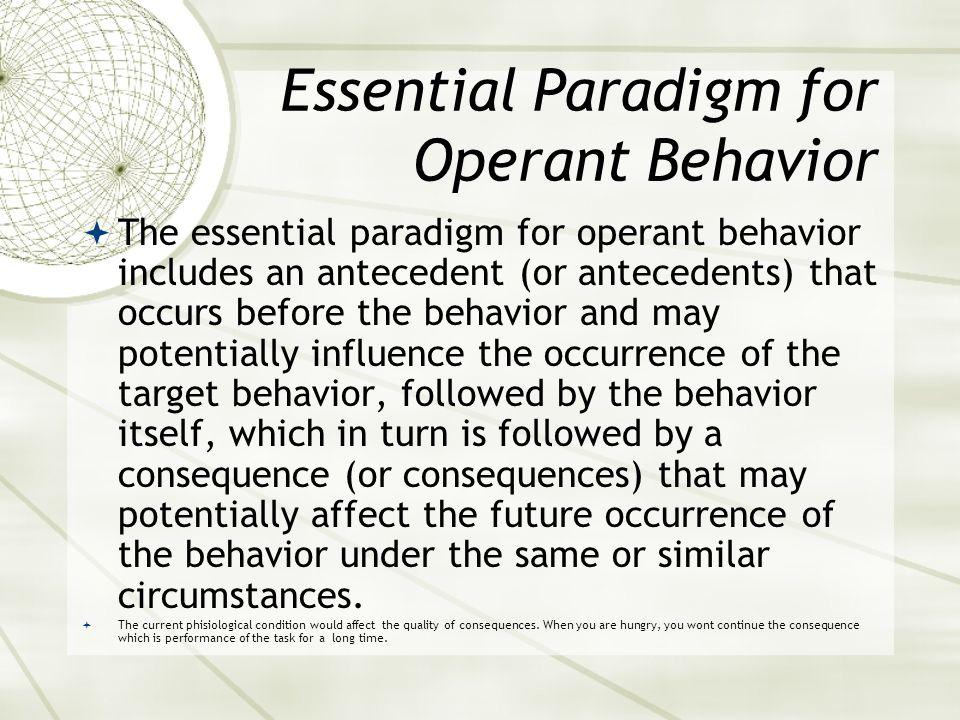 Essential Paradigm for Operant Behavior