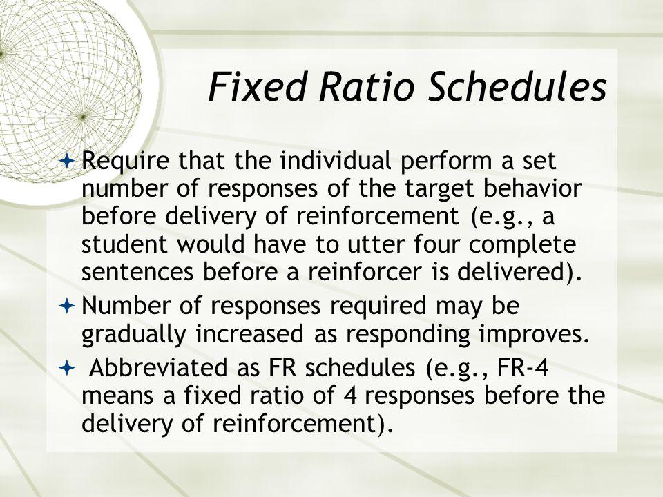 Fixed Ratio Schedules