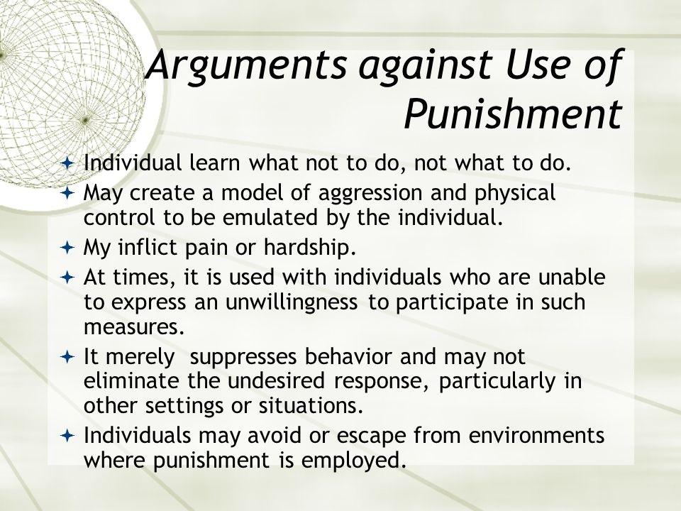 Arguments against Use of Punishment