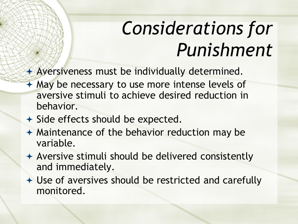Considerations for Punishment