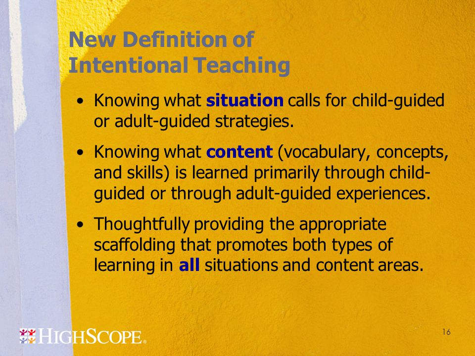 New Definition of Intentional Teaching