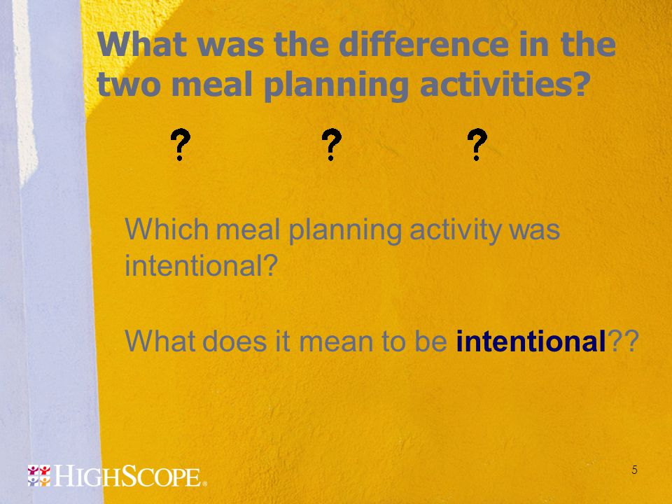 What was the difference in the two meal planning activities