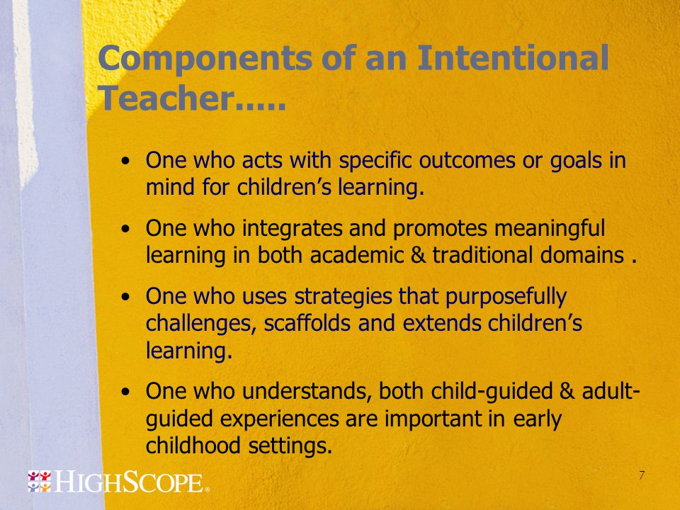 Components of an Intentional Teacher.....