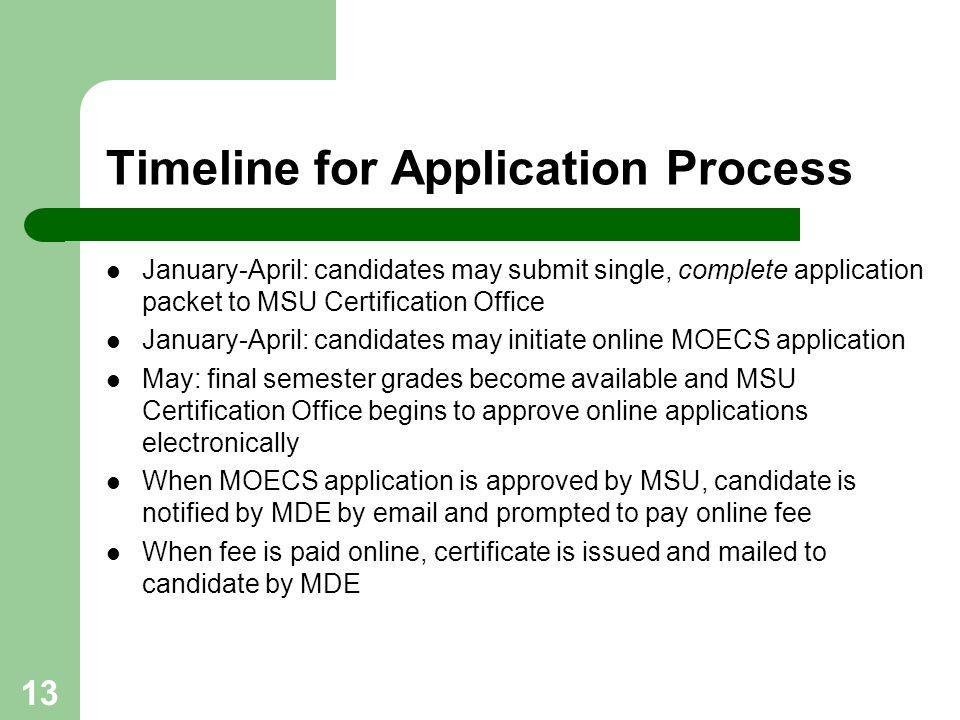 Timeline for Application Process