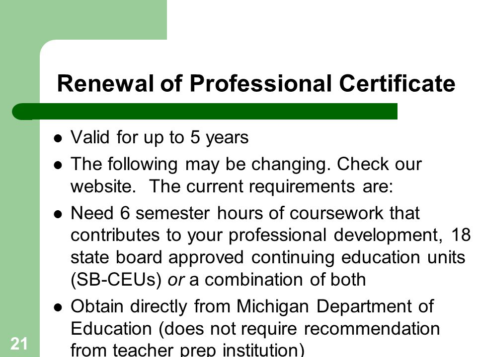 Renewal of Professional Certificate