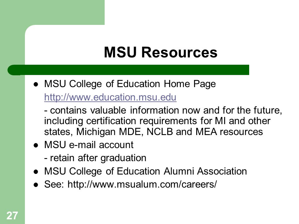MSU Resources MSU College of Education Home Page