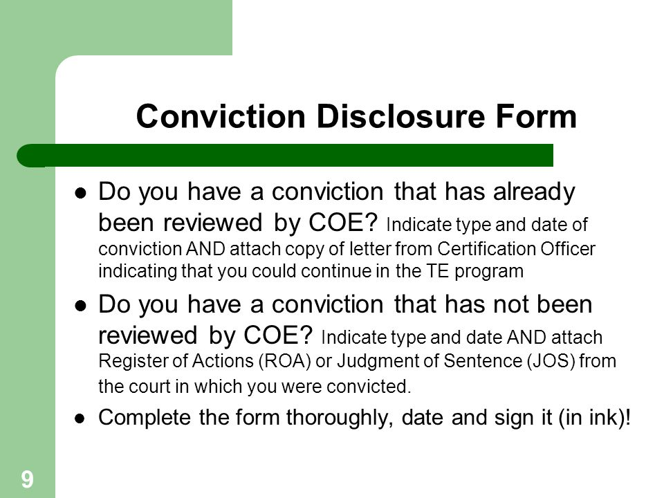 Conviction Disclosure Form