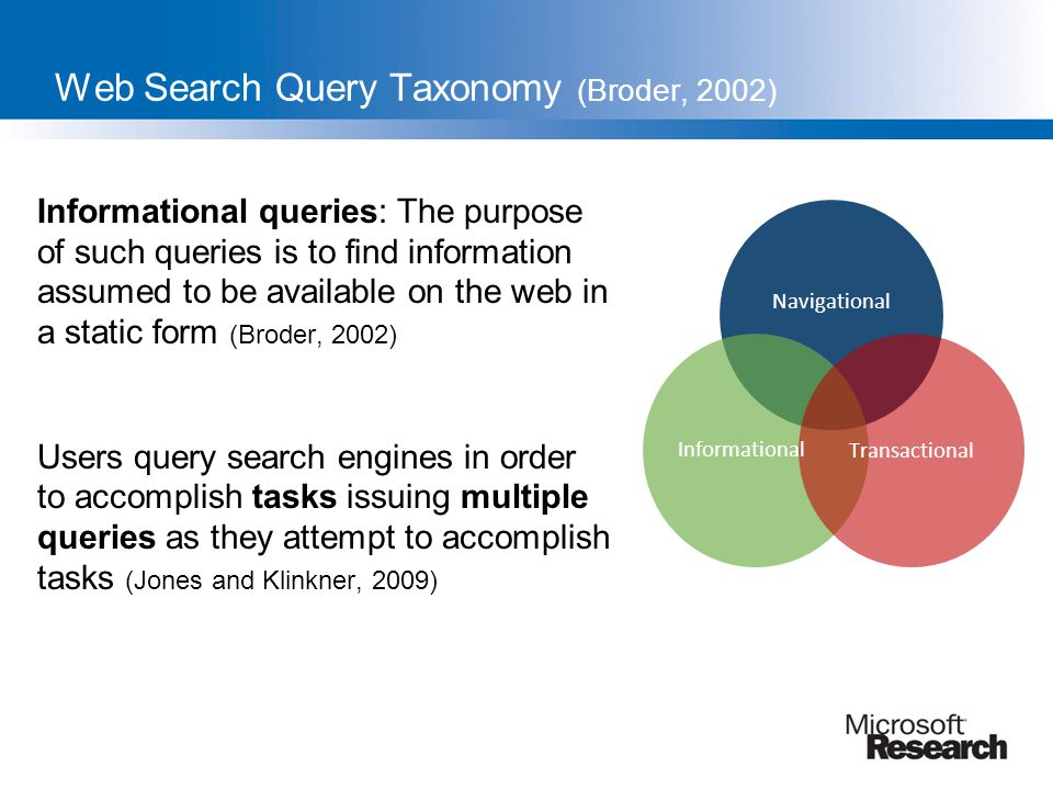 Web Search Query Taxonomy (Broder, 2002)