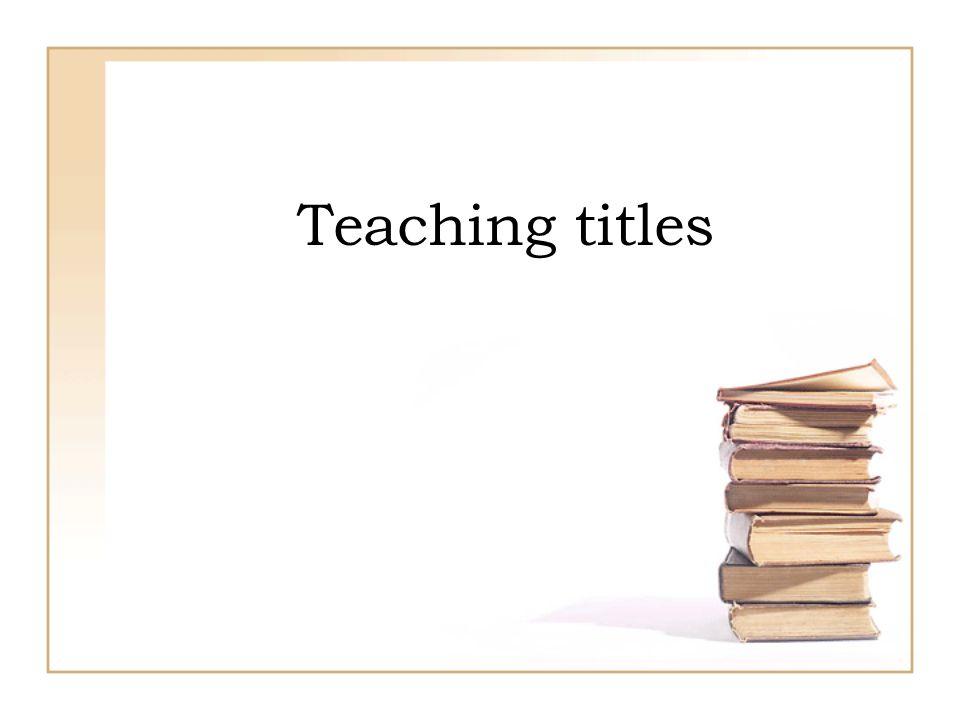 Teaching titles