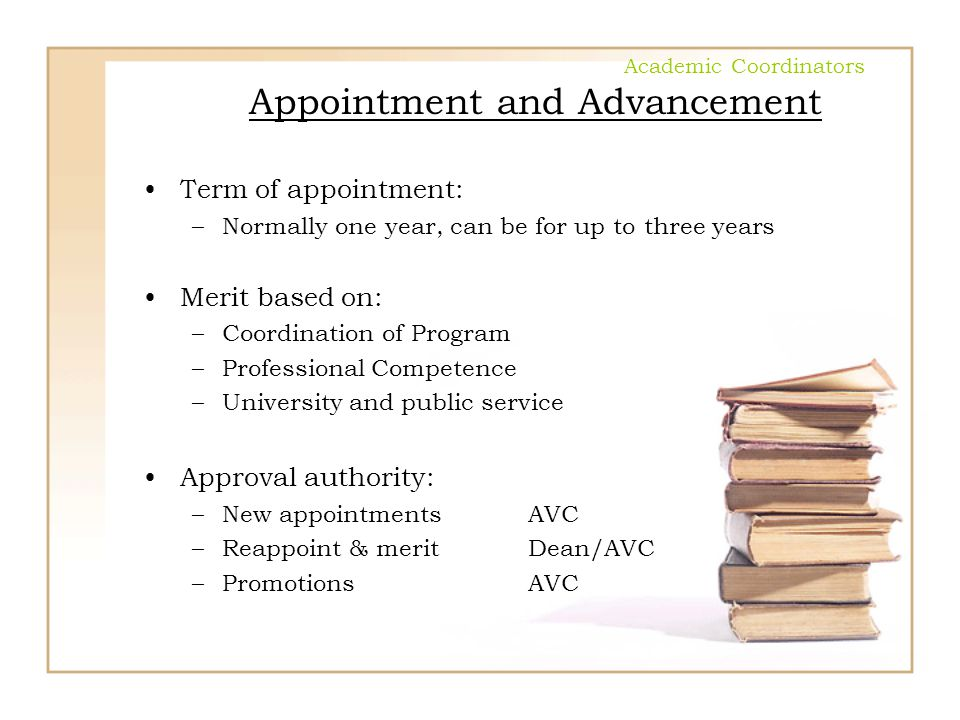 Academic Coordinators Appointment and Advancement