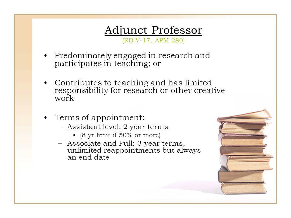 Adjunct Professor (RB V-17, APM 280)