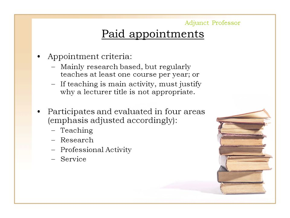 Adjunct Professor Paid appointments