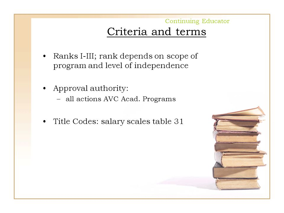 Continuing Educator Criteria and terms