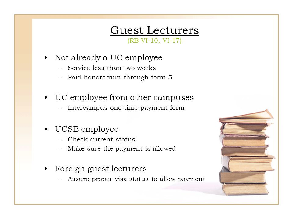 Guest Lecturers (RB VI-10, VI-17)