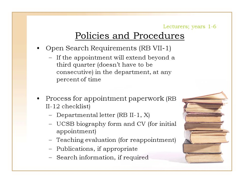Lecturers; years 1-6 Policies and Procedures