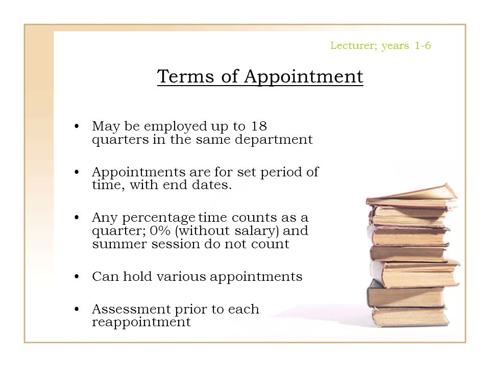 Lecturer; years 1-6 Terms of Appointment